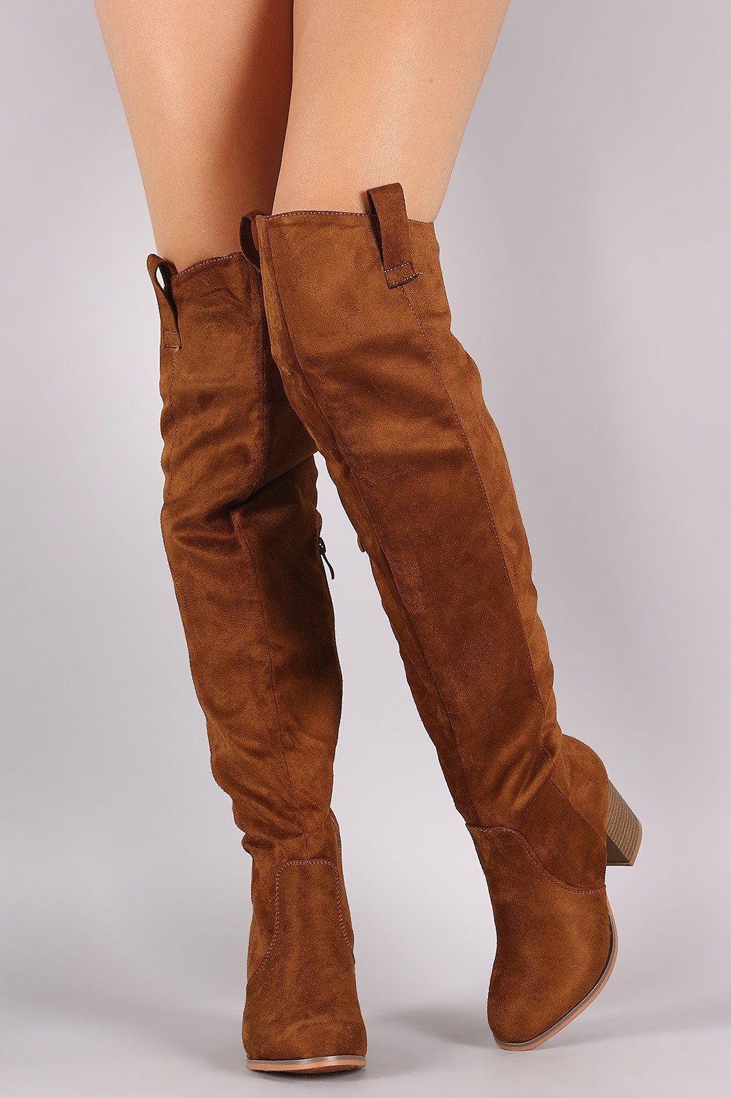 ea1c6811755cf Suede Western Chunky Heeled Over-The-Knee Boots | sexy boots | Boots ...
