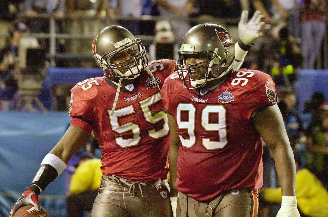 Derrick Brooks Left And Warren Sapp Could End Up In The Pro Football Hall Of Fame Buccaneers Football Tampa Bay Tampa Bay Bucs