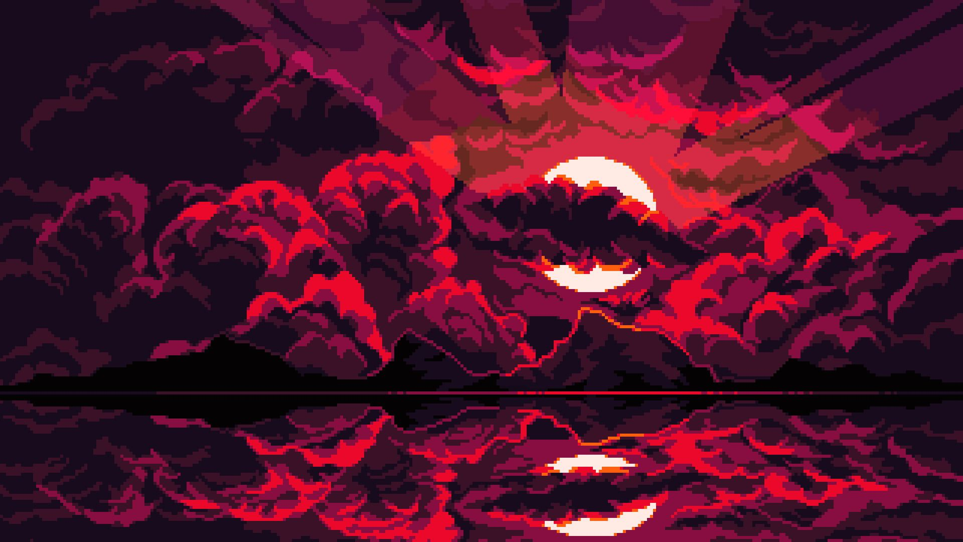 Pixel Art Clouds Moon Reflection Dark Background 1080p Wallpaper Hdwallpaper Desktop In 2020 Dark Background Wallpaper Pixel Art Vaporwave Wallpaper