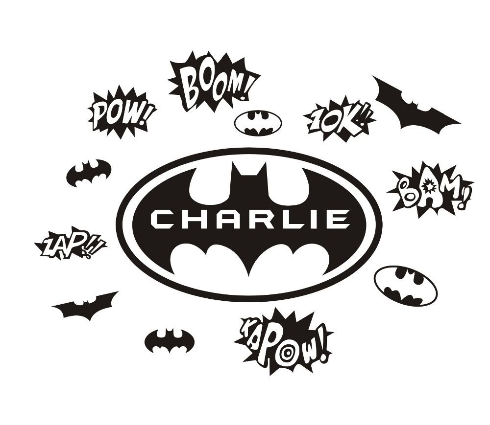 DIY Custom Personalize Name Cartoon Batman Wall Stickers Home Art - Diy custom vinyl stickers