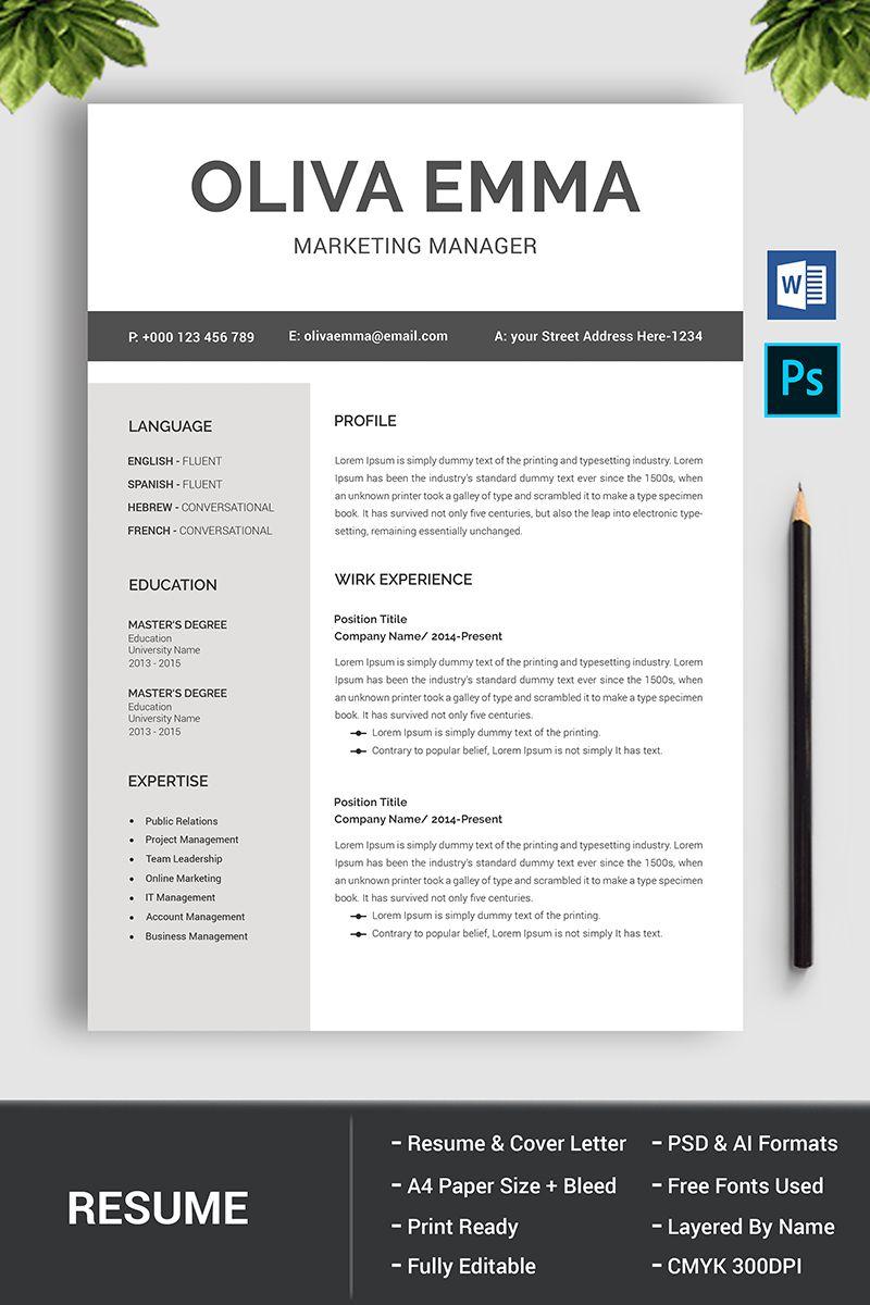 Oliva Emma Resume Template 76902 Resume Design Cover Letter