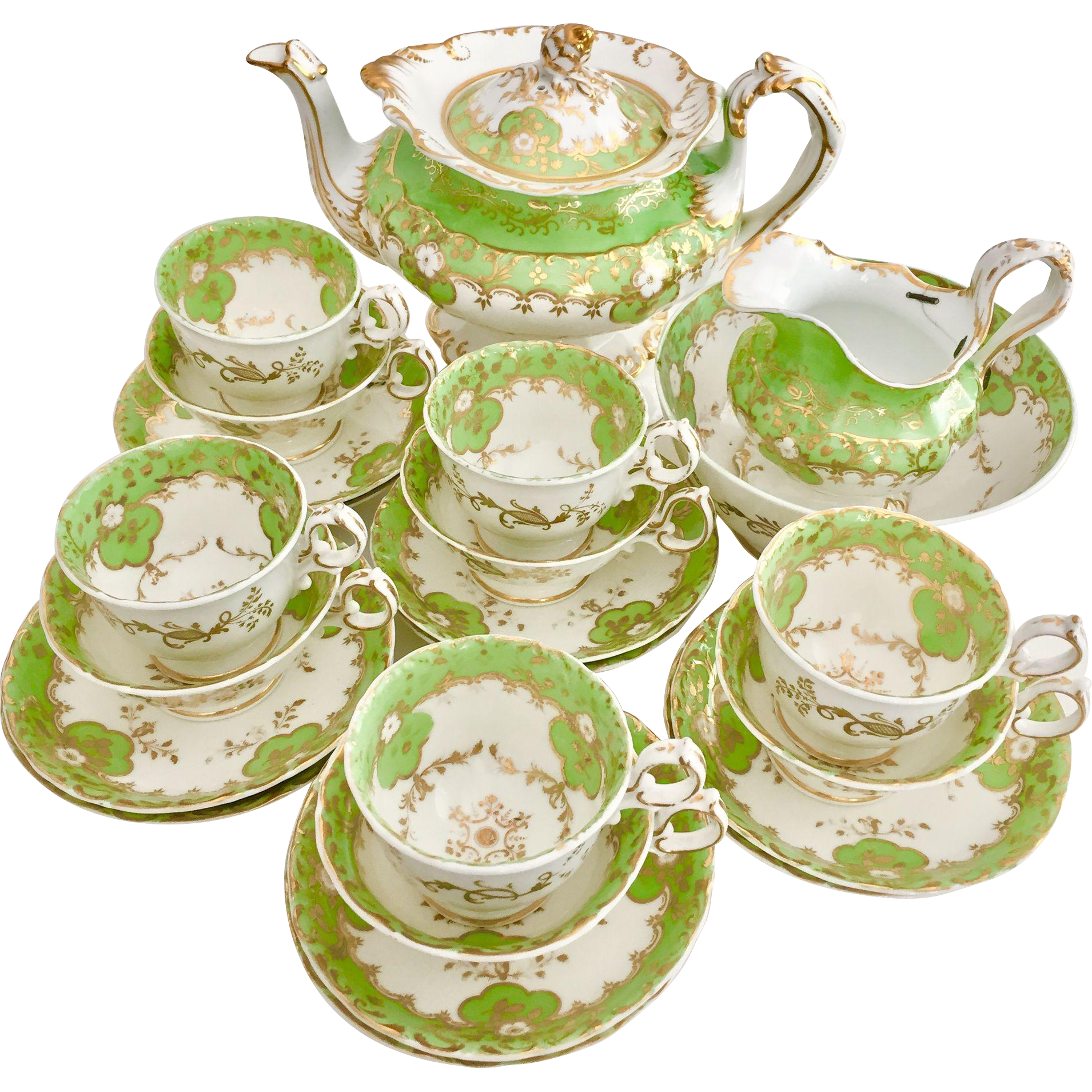 This Is A Very Stunning Full Tea Service For Five Made By Minton In Around 1830 During The Rococo Revival Period The Set Con Tea Pots Vintage Tea Service Tea