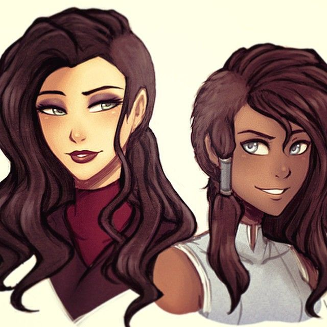 Anime Girl Undercut: Korra And Asami With Queer Undercuts