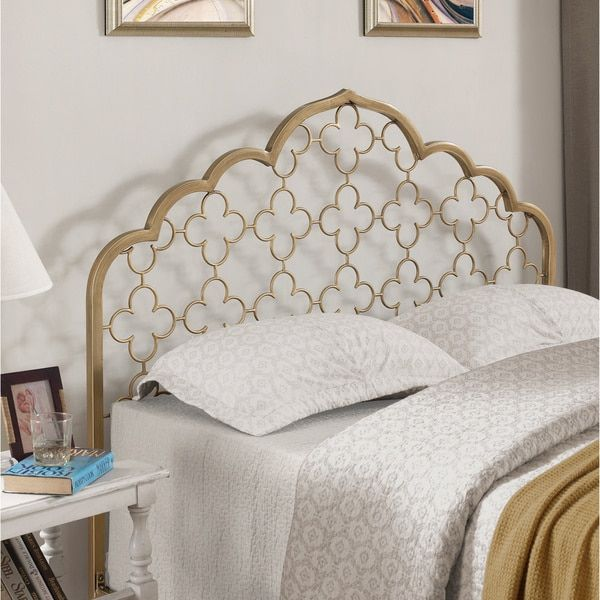 moroccan quatrefoil brushed gold queen size headboard 225 - Moroccan Bed Frame