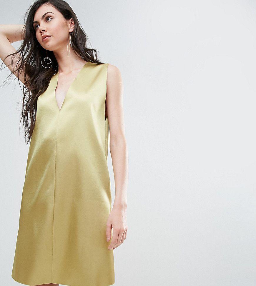 Asos tall deep v satin shift dress green products
