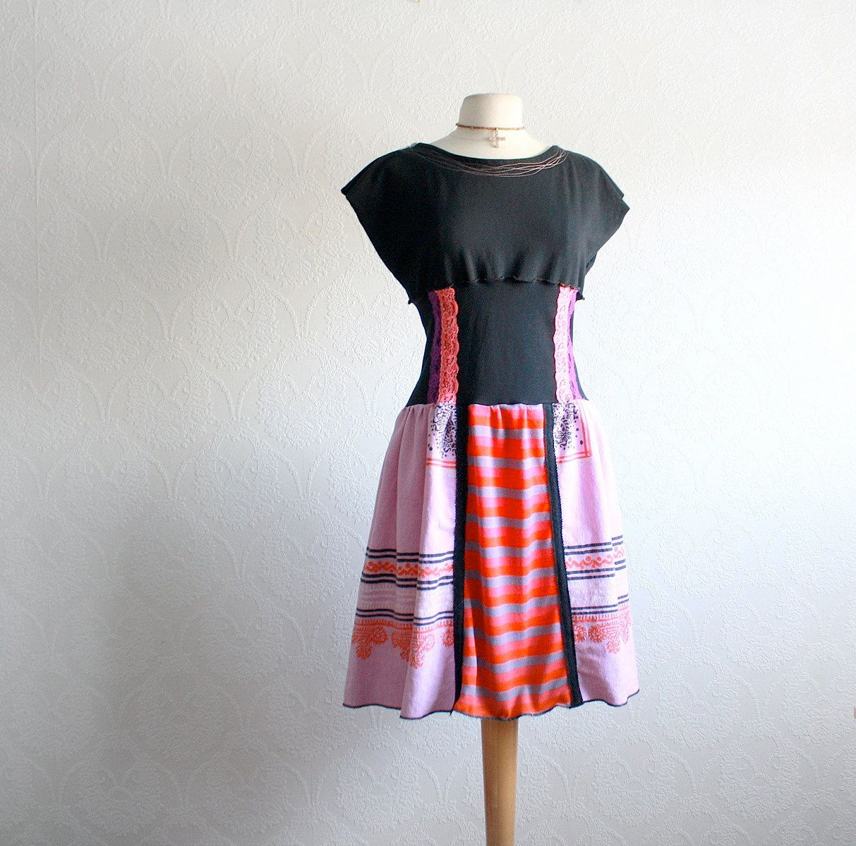 Women's Black Dress Upcycled Clothing Purple Ethnic Print Reconstructed Bohemian Style Ladies Clothes Day Dress Medium 'DION'. $78.00, via Etsy.
