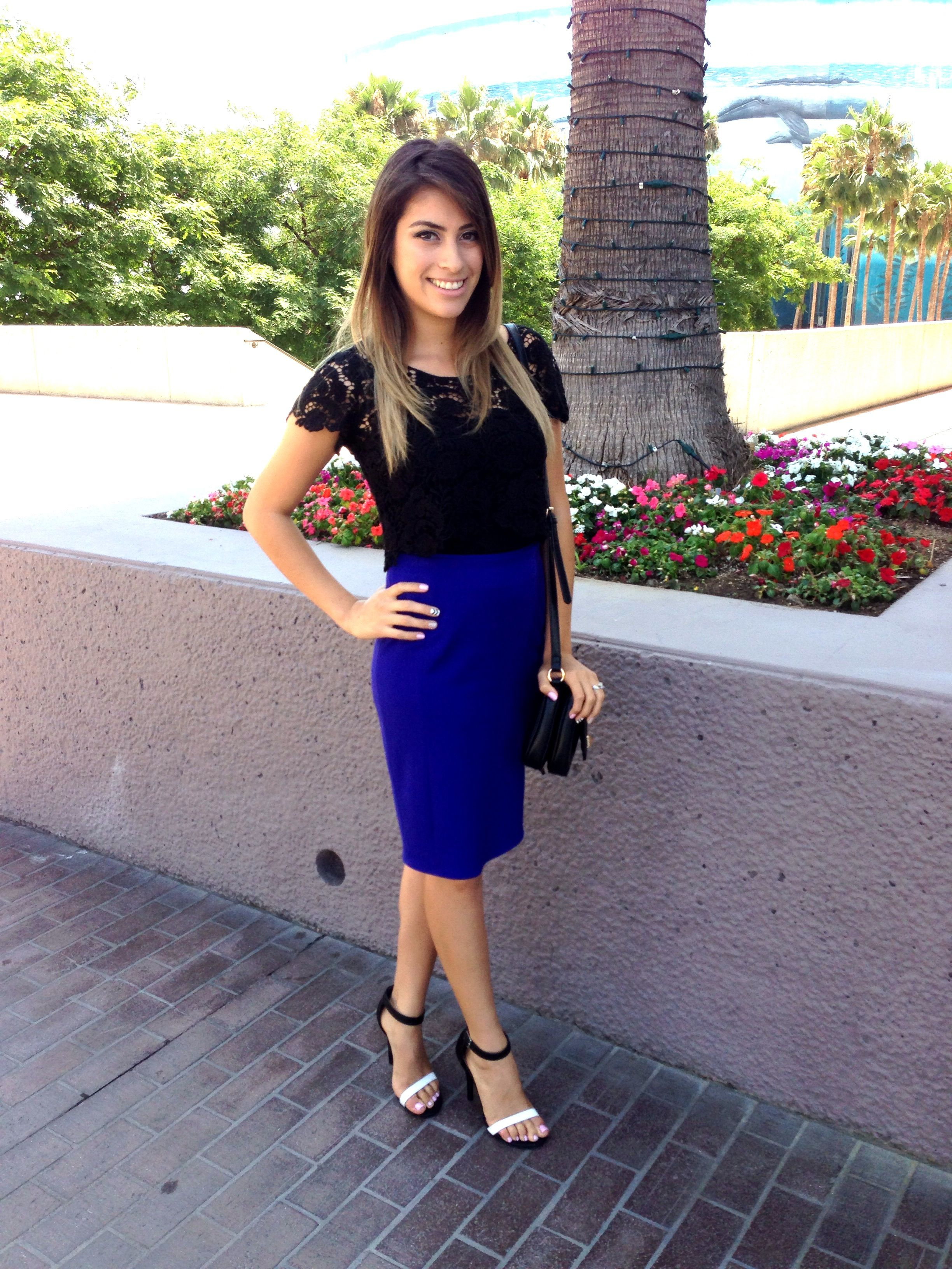 forever 21 royal blue sweater, forever 21 lace pencil skirt, ann ...