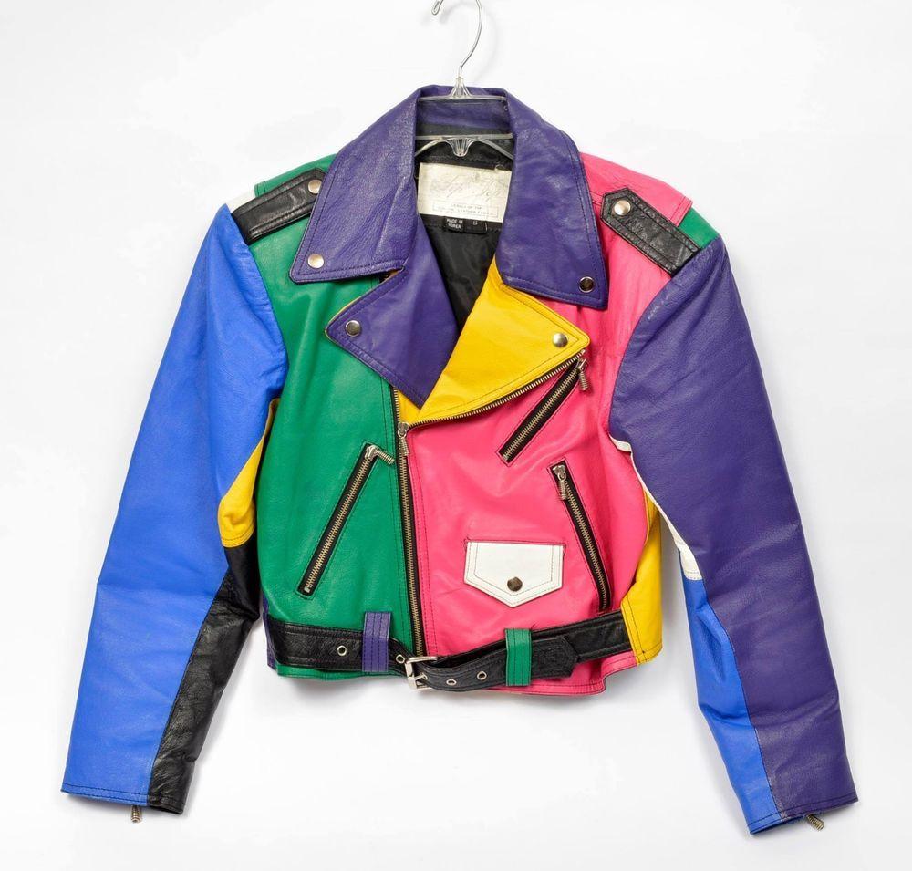 Vintage 80s 90s Leather Jacket Colorblock Finesse Hip Hop Flair Motorcycle Color Vintage Jacket Vintage Leather Jacket 90s Windbreaker Jacket