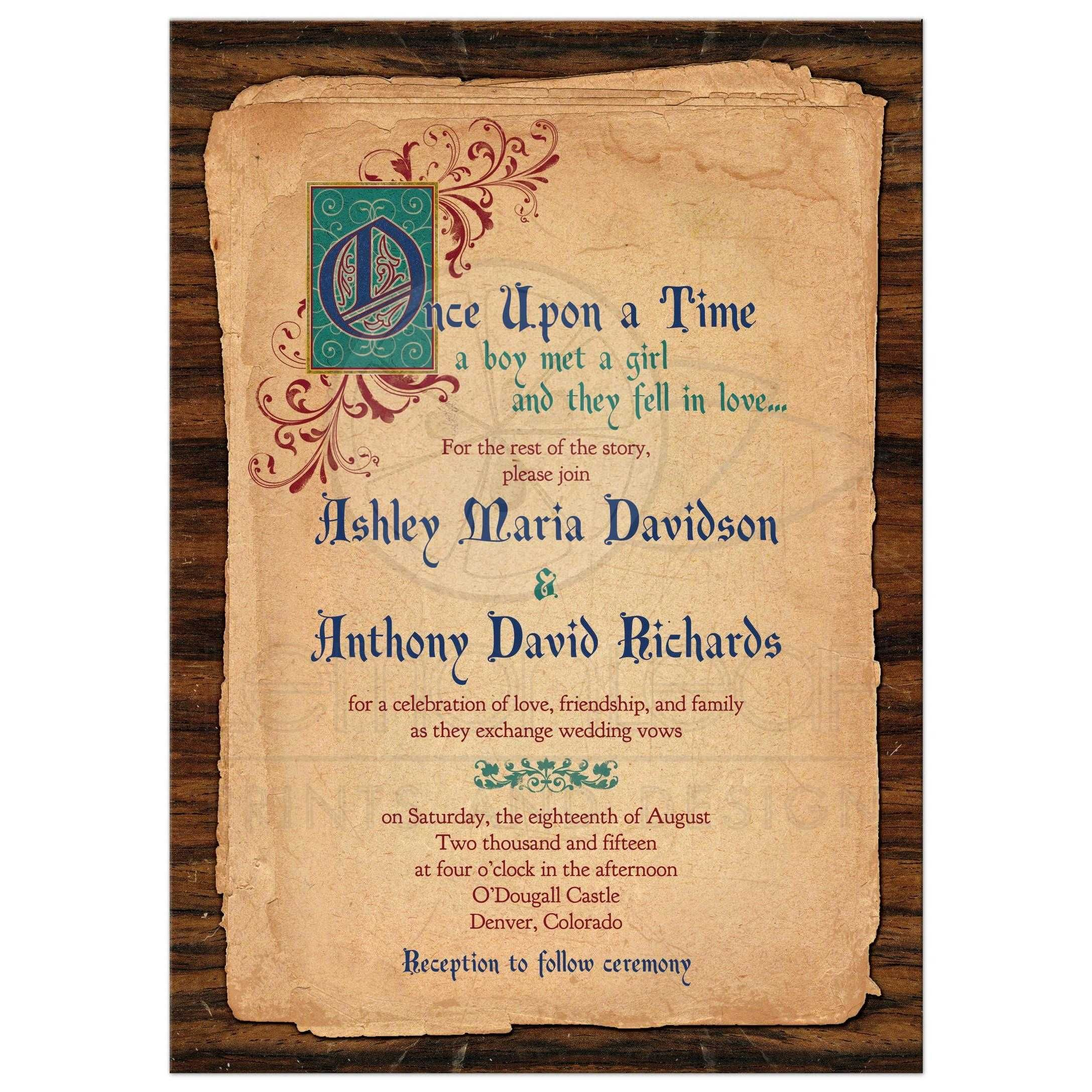 fairy tale wedding invitation medieval once upon a time - Medieval Wedding Invitations