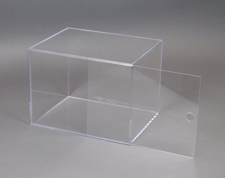Clear Acrylic Display Box With Slide Out Front Frost Imprint Acrylic Display Box Acrylic Display Display Boxes