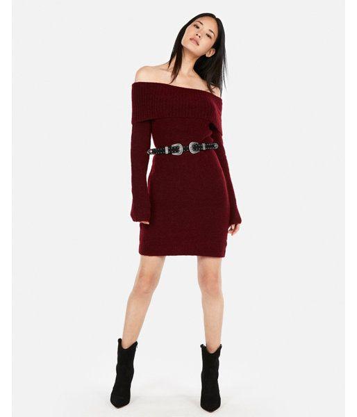 e989fcd15215 Off The Shoulder Sweater Dress Purple Women s XXS