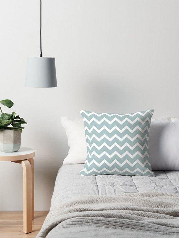 Chevron Cushion Cover Duck Egg Blue Decor Home Accessories