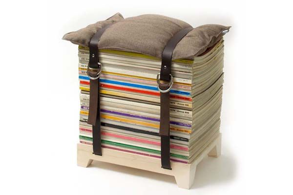 Pretty nifty magazine stool. Betting this wouldn't be a very difficult craft project. #DIY #decor