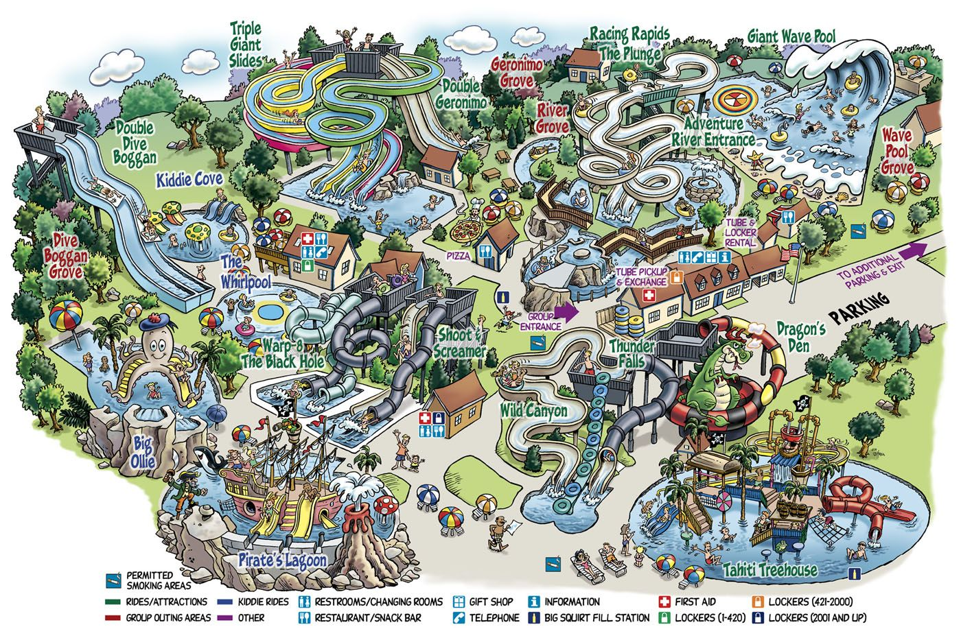 Water Country New Hampshire cartoon map | 10010 Caricature/Cartoon on
