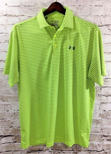 0569c18a Under Armour Neon Yellow Heat Gear Polo Shirt Size XL Loose Fit Stripe  Athletic #UnderArmour #ShirtsTops #Polo #Athletic #Neon #Mens #Golf