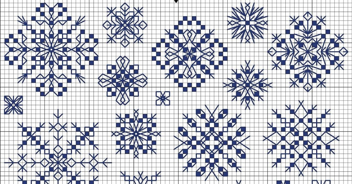 Snowflakes free cross-stitch pattern in blocks | Navidad | Pinterest ...