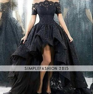 Black High Low Lace Half Sleeve Evening Party Prom Formal Celebrity Gown Dresses