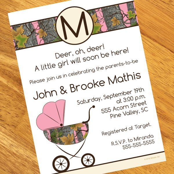 Personalized pink camo baby shower invitation available at boardman personalized pink camo baby shower invitation available at boardman printing filmwisefo Gallery