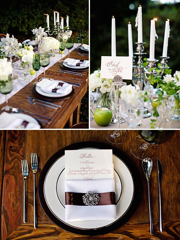 The main tablescape incorporates only all-white flowers (roses, lisianthus, and…