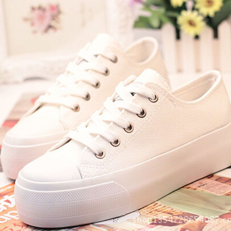 Online Shop Breathable casual canvas shoes for woman Black white platform  sneakers women casual shoes platform