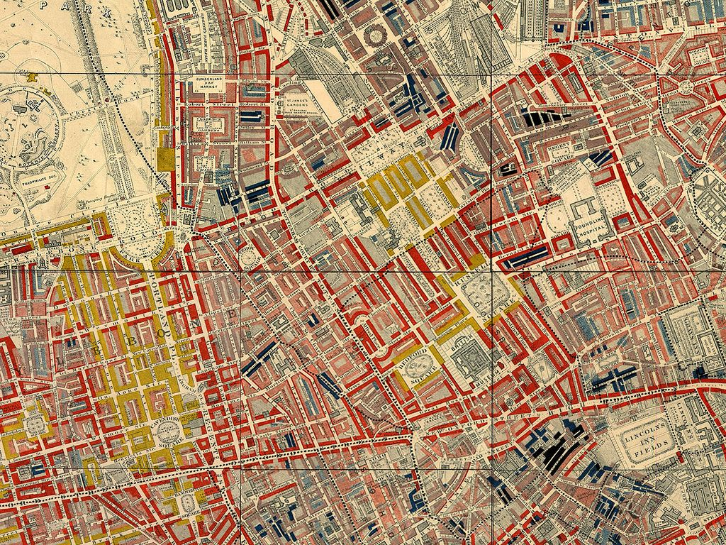 Mapa London%0A Poverty map of Old Nichol slum  East End of London  showing Bethnal Green  Road  from Charles Booth u    s Labour and Life of the People  Volume    East  u