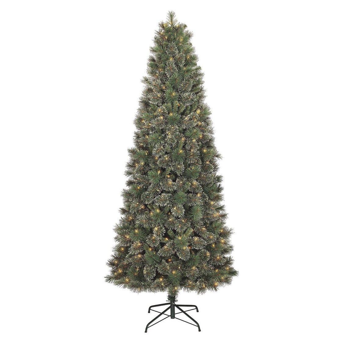 7.5' Prelit Slim Virginia Pine Artificial Christmas Tree