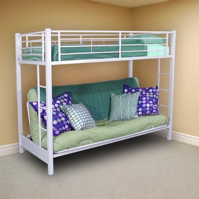 Bedroom Interior E Saving Twin Bunk Bed Over Futon Sofa For Rooms Corner Good White Color Bedding Nice Green Pillows The Comfortable