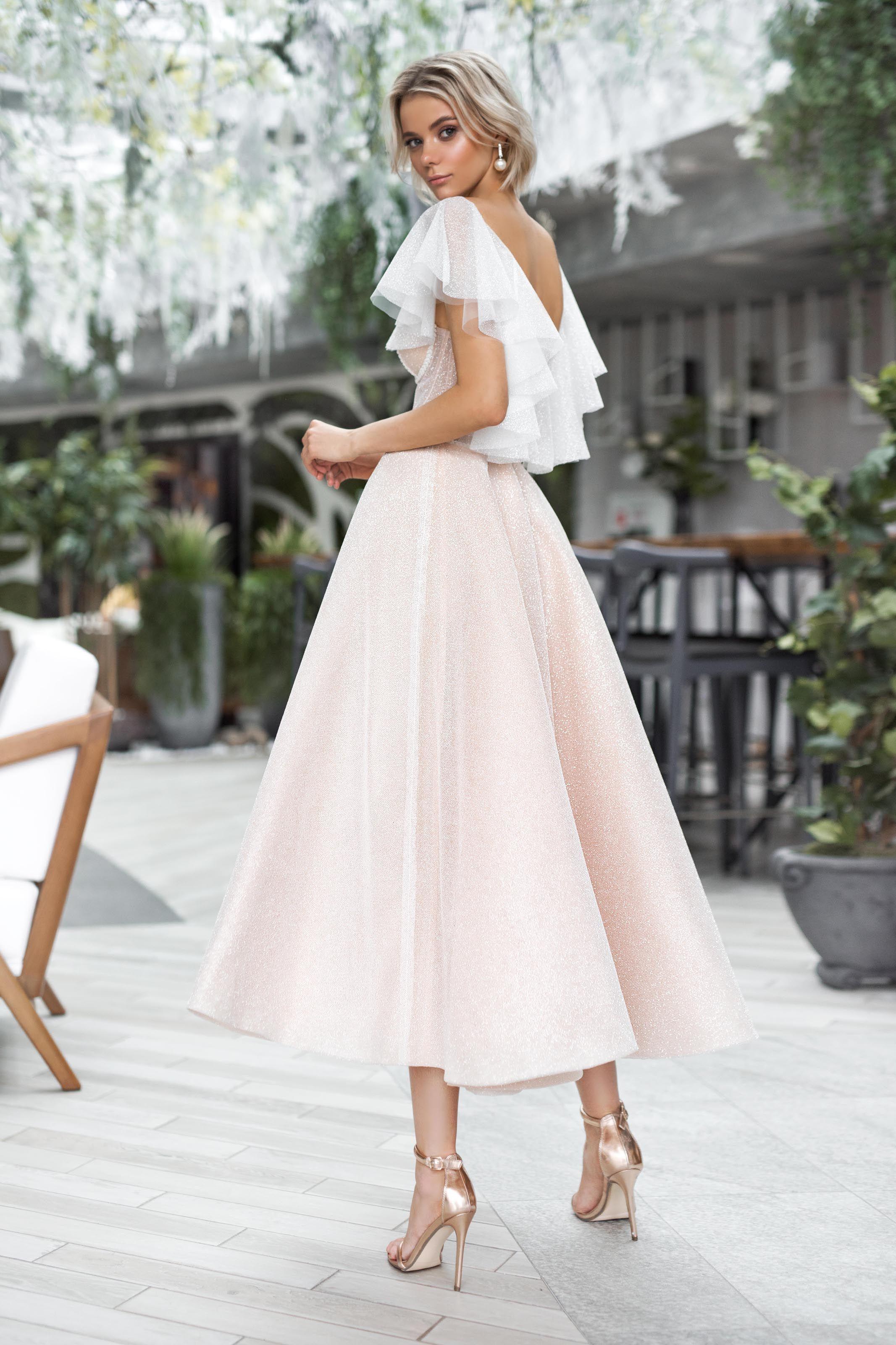 Wedding Gown Strekoza Selesta Luxx Nova Beach Wedding Dress Boho Midi Wedding Dress Beach Wedding Dress [ 3200 x 2133 Pixel ]