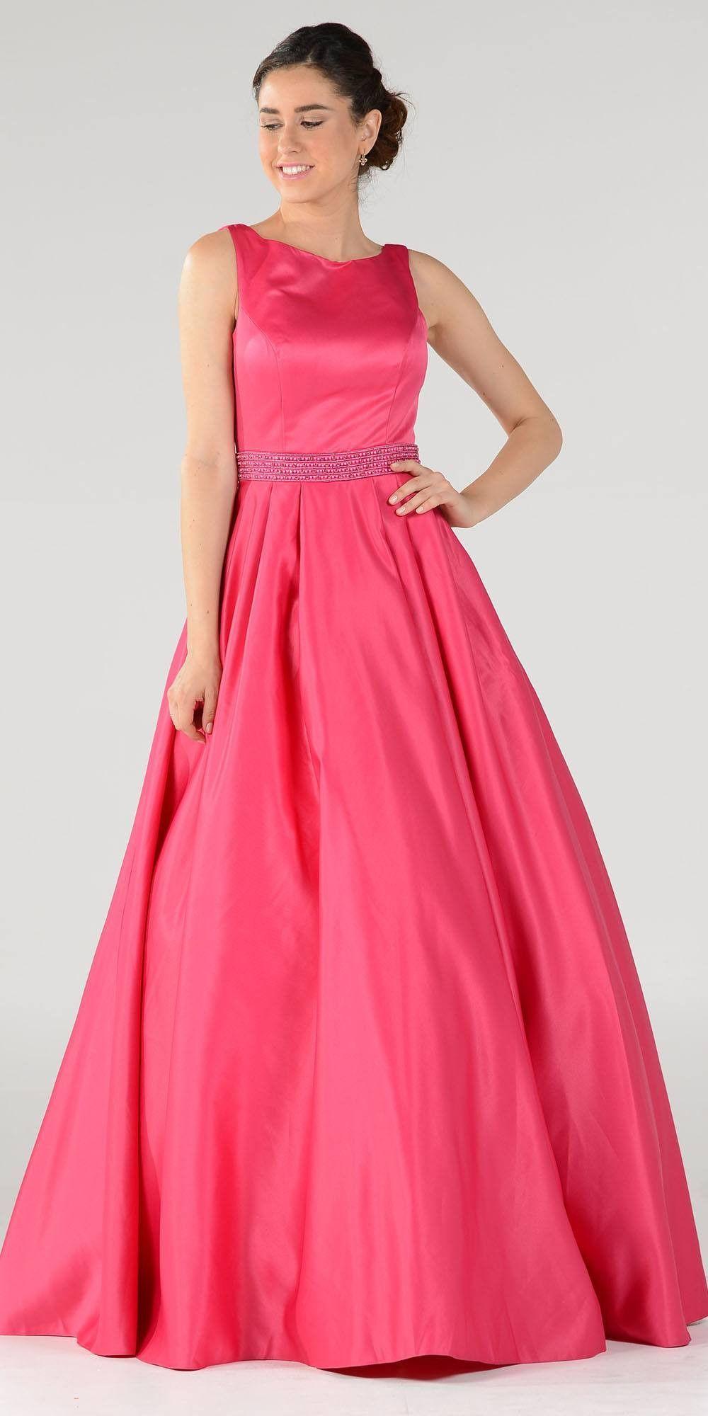Bateau neck satin aline ball gown embellished waist fuchsia