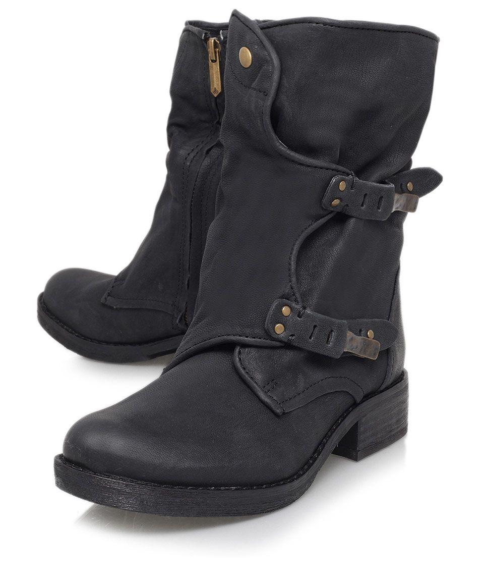 Sam Edelman Black Ridge DualBuckle Leather Biker Boots