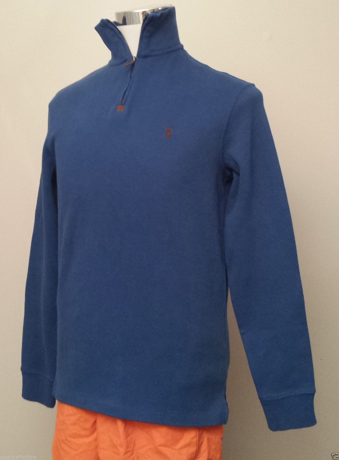 POLO Ralph Lauren men size S blue cotton sweater (warm , zip neck ...