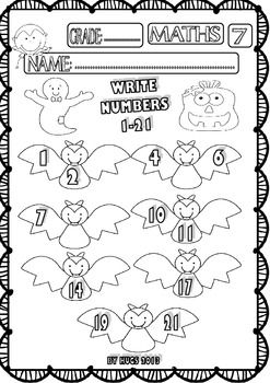 Halloween Maths Funny Worksheets for P-K, K and 1st Grade