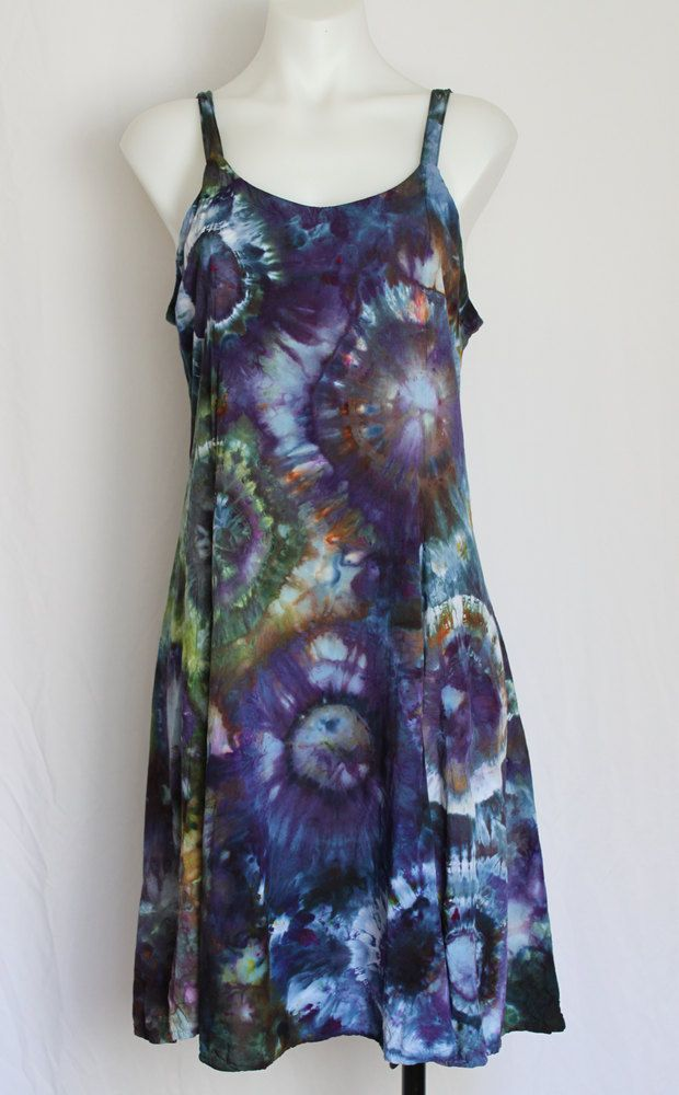 38c4c1dac00 Tie Dye Rayon Sun dress Summer dress Ice Dyed Clothing - Blue Lagoon - Size  Medium by ASPOONFULOFCOLORS on Etsy