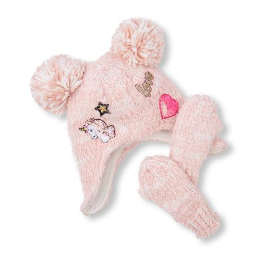 ca56ad4b65d Toddler Girls Embellished Patch Pom Pom Hat And Mittens Set