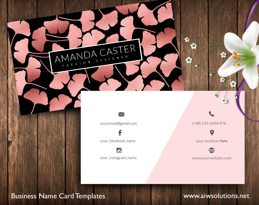 Business card id22 business cards business and card templates ginkgo name card rose gold accmission Gallery