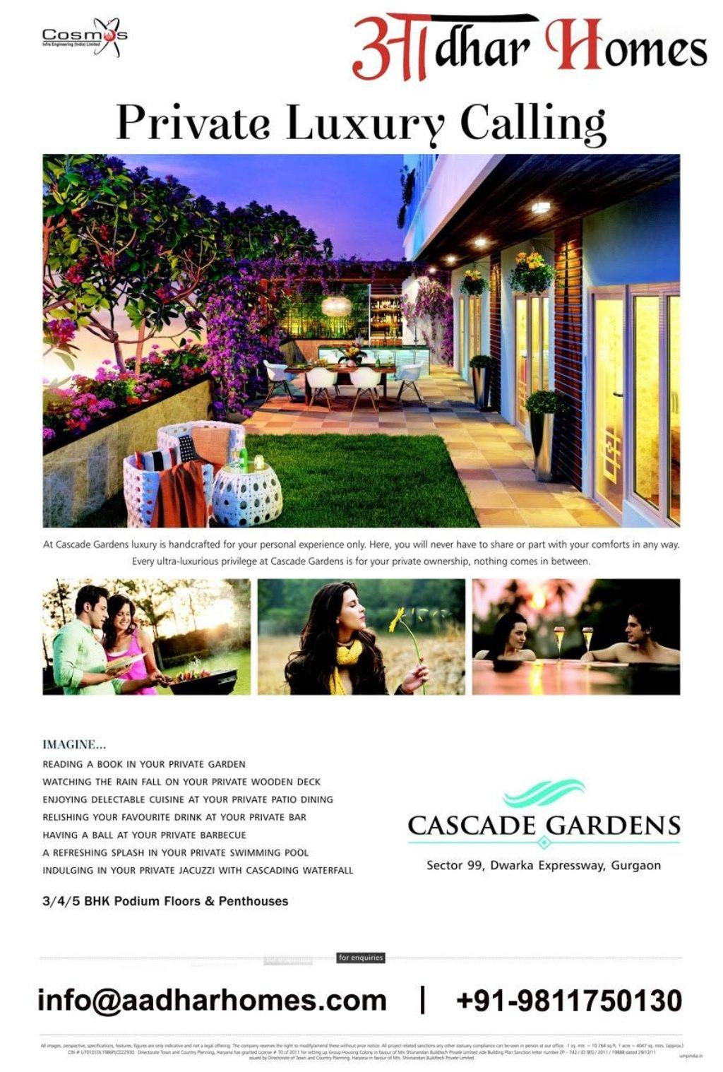 Cosmos Cascade Gardens in Sector99 Dwarka Expressway