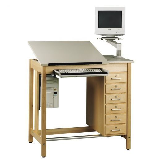 """Diversified Woodcrafts CDTC-71 UV Finish Solid Maple Wood Deluxe Drawing System Table with Drawer, Holder and Arm, Plastic Laminate Top, 42"""" Width x 39-3/4"""" Height x 30"""" Depth"""