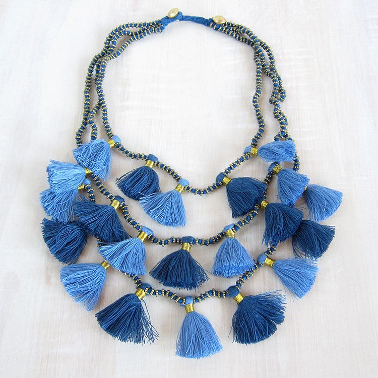 Bluma Project - Gia necklace - cascading 3-strand necklace features knotted cotton cord embellished with brass beads, multiple gold-tied cotton tassels, and an adjustable loop and bead closure