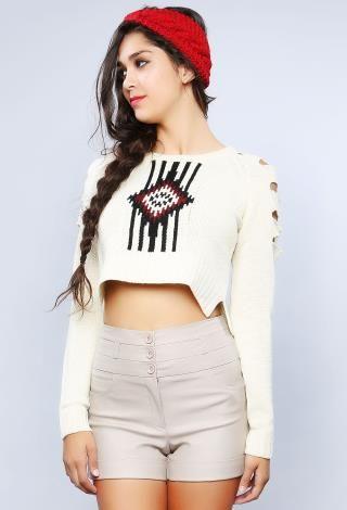 Sleeve Detail Croped Sweater | Shop Sweaters at Papaya
