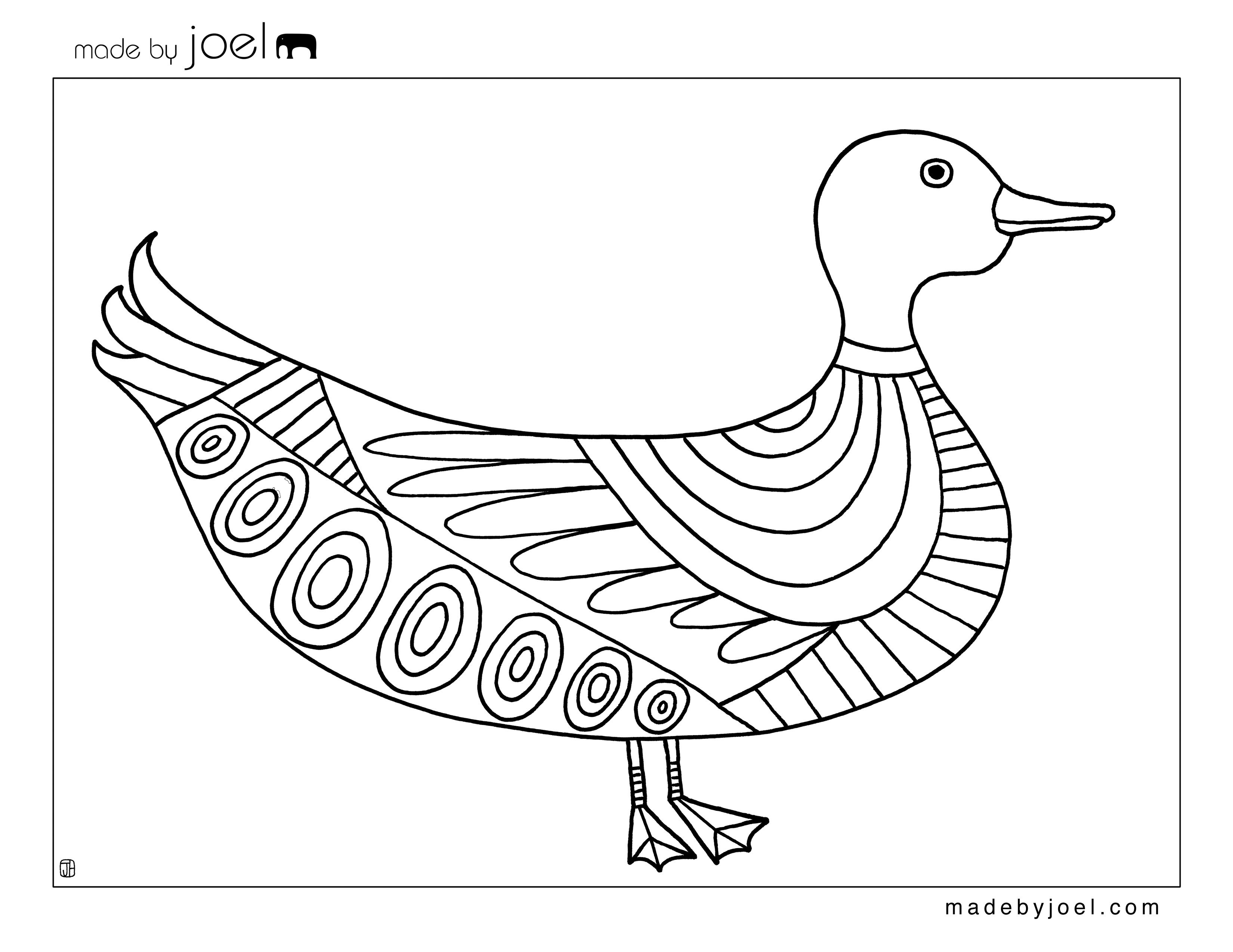 Made By Joel Duck Coloring Sheet Free Printable Template Lots Of Options