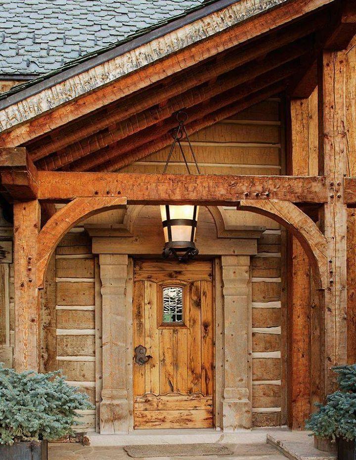 Log home front door | House front door, Log homes exterior