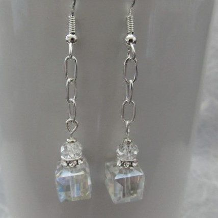Crystal Beaded and Silver Chain Dangle Earrings by SierraLilyDesigns on Etsy