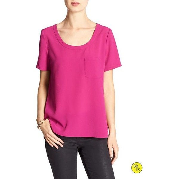 Banana Republic Factory Pocket Tee Size XS - Cerise ($45) ❤ liked on Polyvore featuring tops, short sleeve tops, banana republic tops, pink top, scoopneck top and scoop neck top