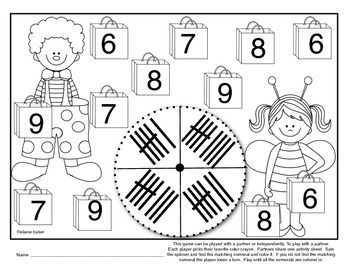 Number Trick or Treat/ Tally Marks and Ten Frame Number