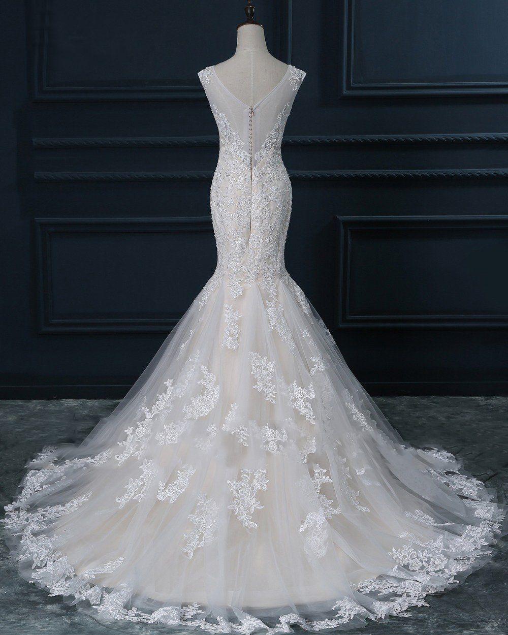 Custom made wedding dress  Two Straps V Neckline Pearls Beaded Lace Mermaid Wedding Bridal
