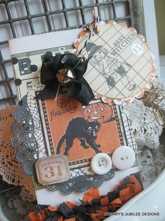 Vintage style halloween black cat candy bag treat bag with matching - decorate halloween bags