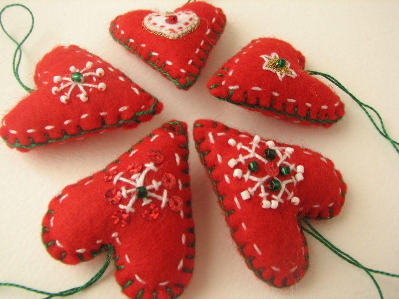 Adornos navideños de tela