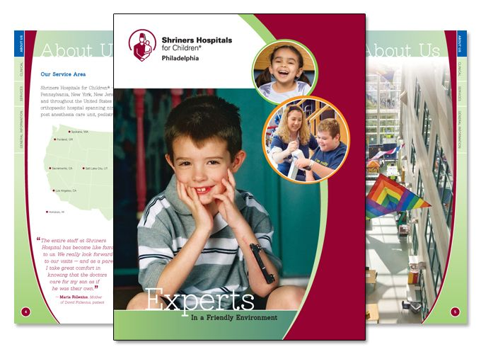 Shriners Hospital provides free healthcare to children with skelital, burn, and other special treatment needs. We were given the opportunity to redesign their corporate brochure, which includes 20 pages of eye-catching graphics and designs regarding the treament options and services provided by Shriners. It's very rewarding for us to work with an organization that touches so many lives.