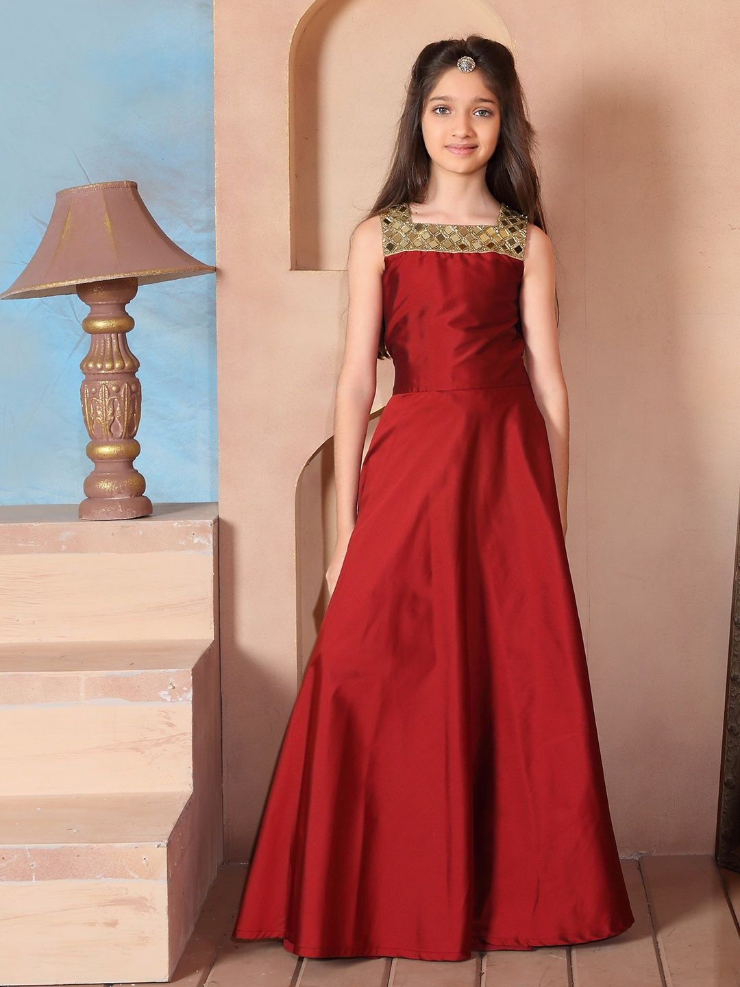 a2c1b8a6144bb Red Silk Solid Gown | Indian wear for kids in 2019 | Dresses, Gowns ...