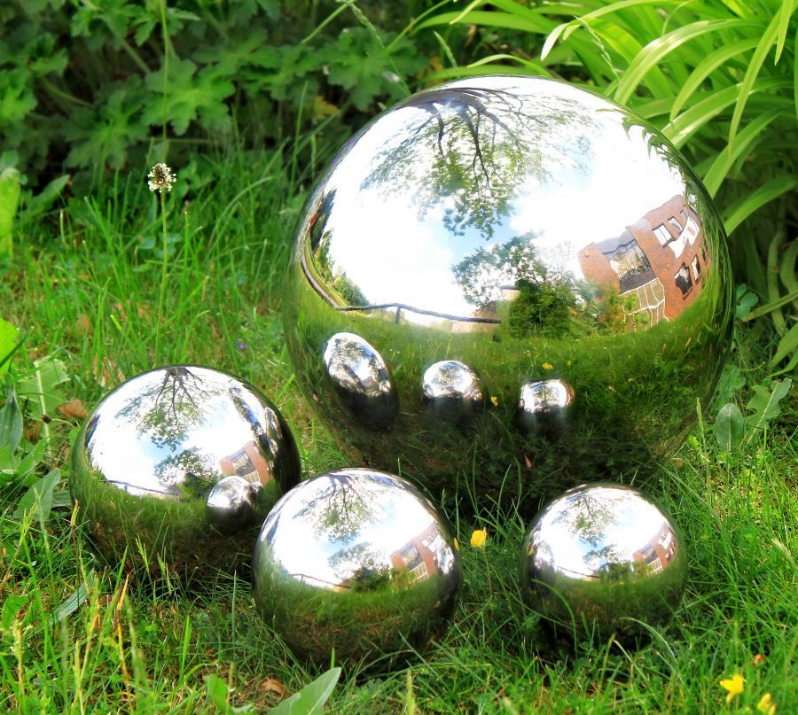 Polished Stainless Steel Gazing Globe Sphere Set Of Four Spheres 39 99 Gazing Globe Sphere Water Feature Garden Ornaments